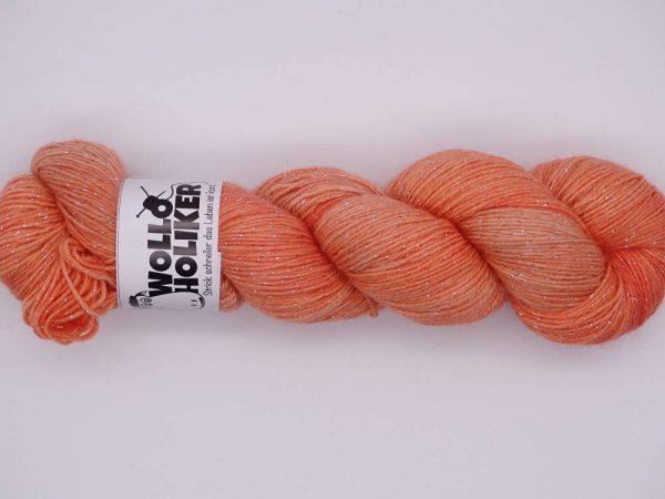 Wolloholiker Glitzer *Mandarine*, Wolle kaufen Bremerhaven, handgefärbte Wolle