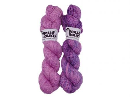 Zwillinge *Rosenblüte*. Wolle kaufen Bremerhaven, handgefärbte Wolle