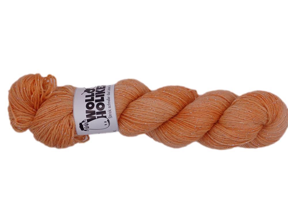 Glitzer *Aprikose*. Wolle kaufen Bremerhaven, handgefärbte Wolle