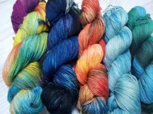 Sockenwolle, Herbstfärbung, handgefärbt mit Säurefarben